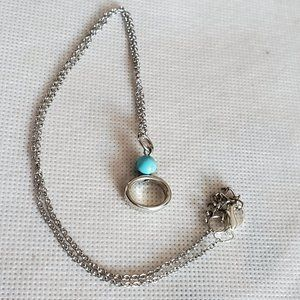 "16"" Silver Tone Crushed Turquoise Bead Necklace"